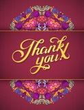 Gracias cardar en colores brillantes Fondo floral elegante con el texto, las bayas, las hojas y la flor Fotografía de archivo