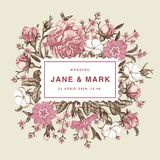 Gracias de la boda y vector realista hermoso del capítulo de tarjeta de las primaveras de las rosas de las flores de la invitació