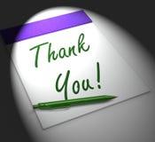 ¡Gracias! El cuaderno exhibe el reconocimiento o la gratitud Foto de archivo