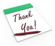 ¡Gracias! El cuaderno significa el reconocimiento Fotografía de archivo libre de regalías