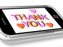 Gracias el mensaje y de los corazones como Fotos de archivo libres de regalías