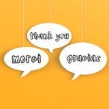 Gracias en idiomas extranjeros en el discurso de la burbuja Fotografía de archivo libre de regalías