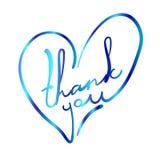 Gracias en la forma estilizada del corazón Ejemplo colorido del VECTOR en blanco Foto de archivo libre de regalías