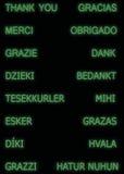 Gracias en muchas idiomas, en color verde Imagen de archivo libre de regalías