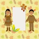 Gracias felices que dan con vector indio rojo de los niños del traje Fotografía de archivo