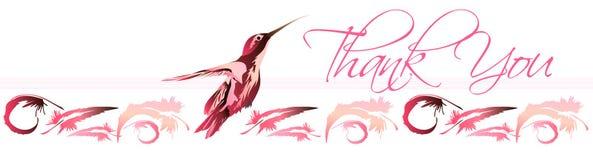 Gracias la tarjeta 1 del colibrí Fotografía de archivo