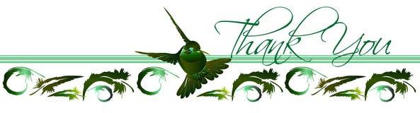 Gracias la tarjeta 2 del colibrí Imagenes de archivo