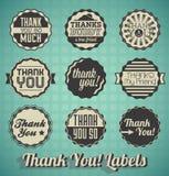 Gracias las etiquetas e icono Imagen de archivo libre de regalías