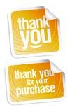 Gracias las etiquetas engomadas Imagen de archivo libre de regalías