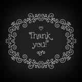 Gracias las letras y línea tablero de marco del negro del arte Imagenes de archivo