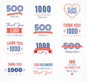 Gracias los seguidores, las insignias, las etiquetas engomadas y las etiquetas libre illustration