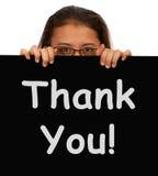 Gracias mensaje mostrar gratitud Foto de archivo libre de regalías