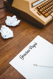 Gracias papa written on paper