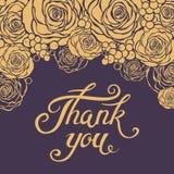 Gracias plantilla de la tarjeta de letras con los elementos florales Imagen de archivo
