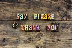 Gracias por favor tipografía de la gratitud de las maneras imágenes de archivo libres de regalías