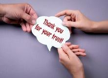 Gracias por su concepto social del márketing de los medios de la confianza fotografía de archivo libre de regalías