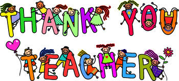 Gracias profesor Kids Fotografía de archivo libre de regalías