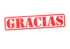 GRACIAS Rubber Stamp. Over a white background Stock Photo