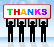 Gracias significa muchas gracias y agradecido Imagen de archivo libre de regalías