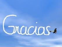 Gracias spanjor tackar dig meddelandet, från biplan Arkivbilder