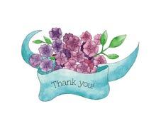 ¡Gracias! tarjeta con el ramo dibujado mano de flores con la cinta Imagen de archivo libre de regalías