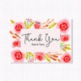 Gracias tarjeta con la flor de la acuarela ilustración del vector