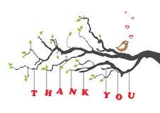 ?Gracias? tarjeta de felicitación con el pájaro Imagen de archivo libre de regalías
