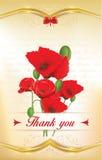 Gracias tarjeta de felicitación con las amapolas Imagenes de archivo