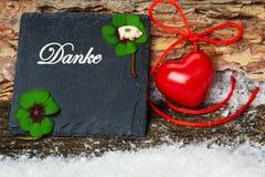 Gracias, tarjeta de felicitación para el día del ` s de la tarjeta del día de San Valentín Imagen de archivo
