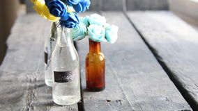 Gracias, thank you in Spanish, tag and flowers in a bottle stock footage