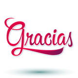 Gracias - THANK YOU spanish. Text - hand lettering - vector Royalty Free Stock Photos