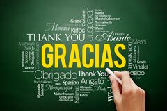 Gracias Thank You in Spanish Word Cloud on blackboard, all languages, multilingual for education