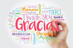 Gracias Thank You in Spanish word cloud in different languages with marker