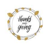 Gracias y texto del donante en la guirnalda del oro del otoño de hojas Imágenes de archivo libres de regalías