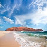 Graciosa en Lanzarote eilanden Stock Afbeeldingen