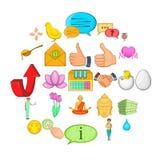 Graciousness icons set, cartoon style. Graciousness icons set. Cartoon set of 25 graciousness vector icons for web isolated on white background Stock Image