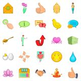 Graciousness icons set, cartoon style Stock Images