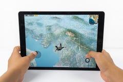 Graczów poly bitwy PUBG iPad Niewiadomy Mobilny iPhone Zdjęcia Stock
