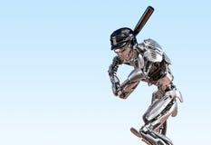 Gracz baseballa robot Istoty ludzkiej i cyborga integracji mechaniczny pojęcie Mechaniczna technologii 3D ilustracja obrazy royalty free