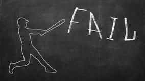 Gracz baseballa uderza słowa Fail obraz stock