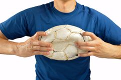 Gracz futbolu łama piłkę Fotografia Royalty Free