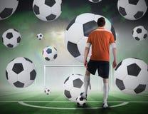 Gracz futbolu wokoło brać karę Obraz Stock