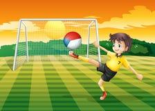 Gracz kopie piłkę z czecha Republig flaga Zdjęcie Stock