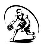 Gracz koszykówki stylizowana wektorowa sylwetka Obraz Stock