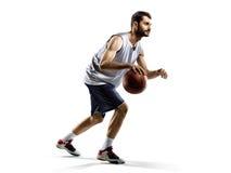 Gracz koszykówki w akci odizolowywającej na bielu Zdjęcia Stock