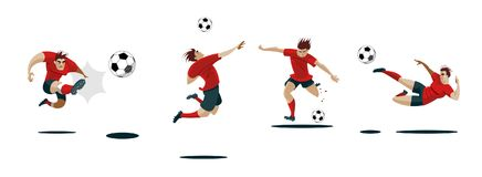 gracz na kopanie piłki nożnej Ustawia kolekcję różne pozy ilustracja wektor