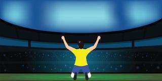 Gracz piłki nożnej odświętności cel na stadium piłkarski Obrazy Royalty Free