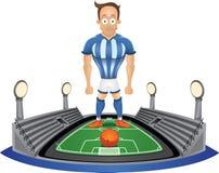 Gracz piłki nożnej pozycja przy stadium Zdjęcie Royalty Free