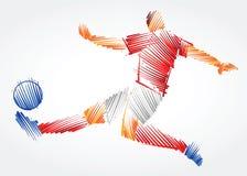 Gracz piłki nożnej rozciąga ciało dominować piłkę Zdjęcie Stock
