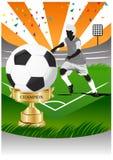Gracz piłki nożnej z złocistym filiżanka mistrzem Zdjęcie Royalty Free
